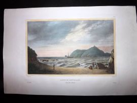 d'Urville 1835 Folio Hand Col Print. Astrolabe Ship in Cove at New Zealand